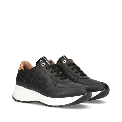 Sneakers 1ª Classe Junior in pelle nera con logo in rilievo P4A4-10726-0191X550