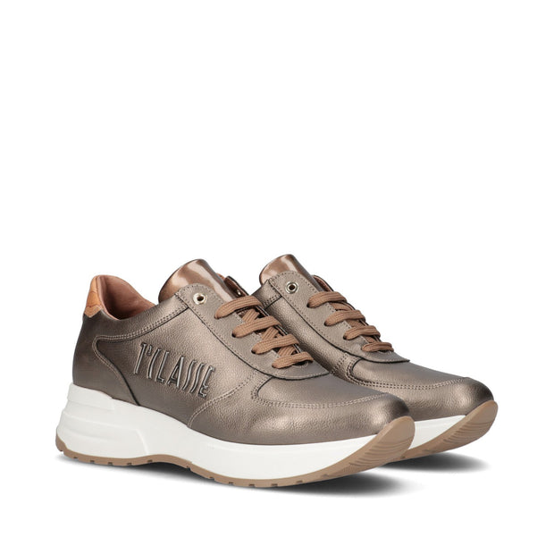 Sneakers 1ª Classe Junior in pelle metallizzata taupe con logo in rilievo P4A4-10726-0191X937