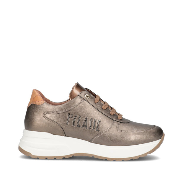 Sneakers Alviero Martini 1ª Classe junior color taupe metallizzato e logo