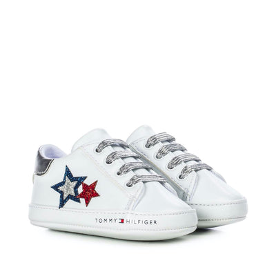 Sneakers Tommy Hilfiger in ecopelle bianca con stelle glitterate