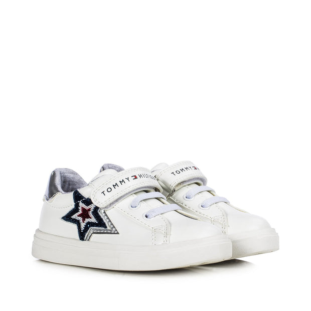Sneakers Tommy Hilfiger in ecopelle bianca con stelle di paillettes T1A4-30785-1012X025