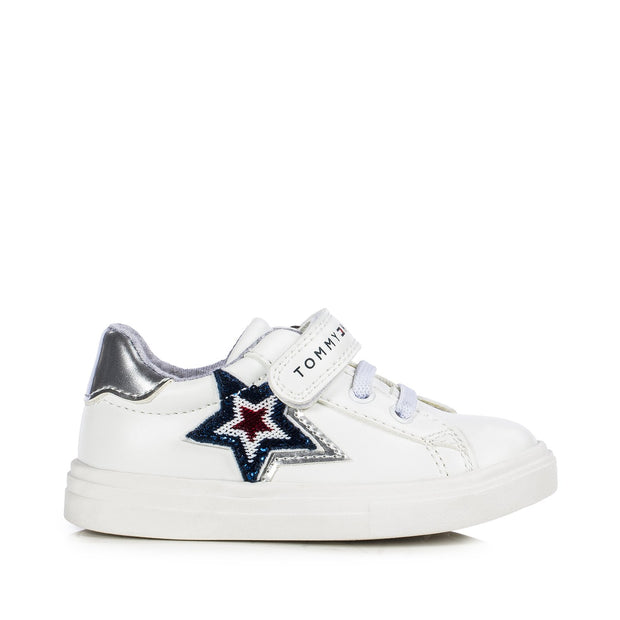 Sneakers Tommy Hilfiger in ecopelle bianca con stelle di paillettes