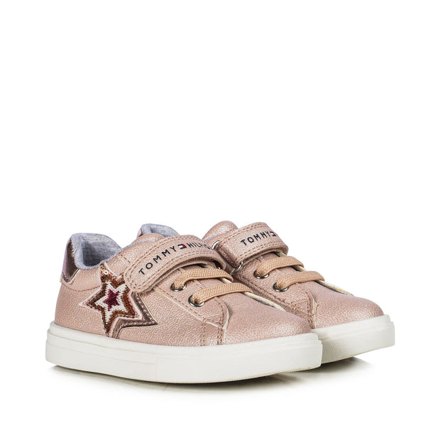 Sneakers Tommy Hilfiger in ecopelle rosa con stelle di paillettes T1A4-30786-1013302-