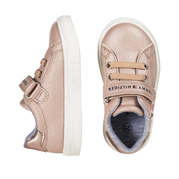 Sneakers Tommy Hilfiger in ecopelle rosa con stelle di paillettes