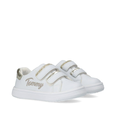 Sneakers Tommy Hilfiger bianca con inserti gold T1A4-31017-1189X048