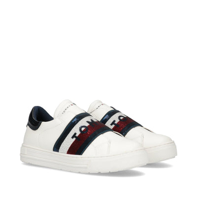 Sneakers Tommy Hilfiger bianche con fascia elastica paillettes colorblock T3A4-30797-1017X336