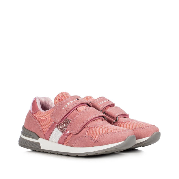 Sneakers Tommy Hilfiger rosa con flag glitter T3A4-30811-1069302-