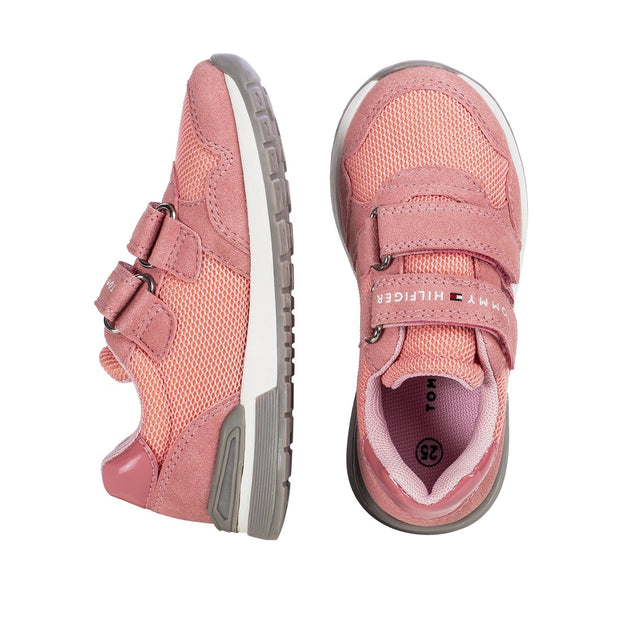 Sneakers Tommy Hilfiger rosa con flag glitter