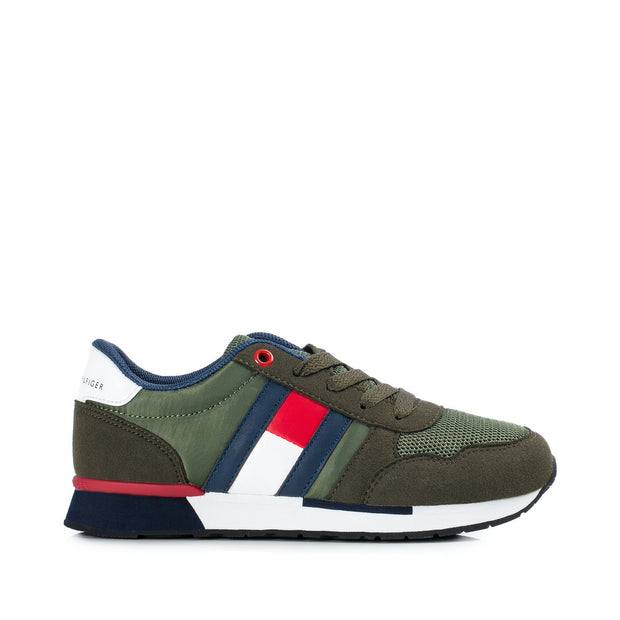 Sneakers Tommy Hilfiger in tessuto verdone con bandiera laterale
