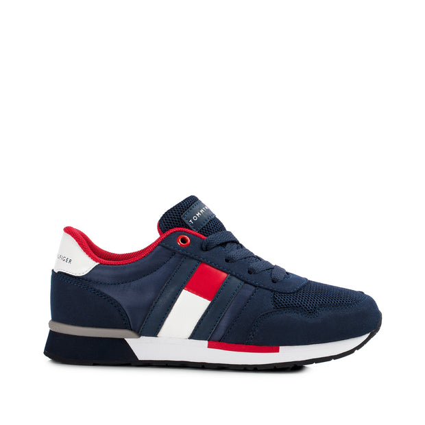 Sneakers Tommy Hilfiger in tessuto blu con bandiera laterale