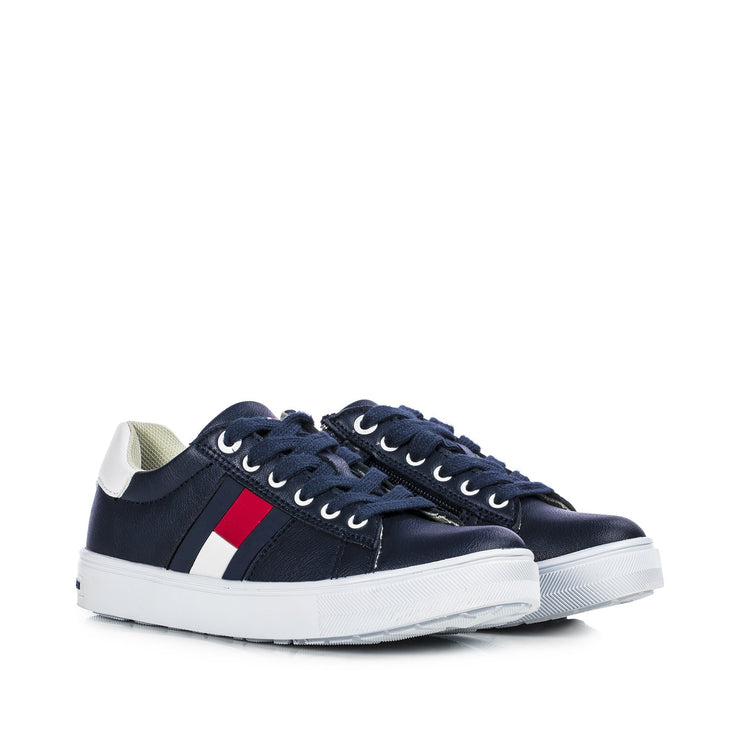 Sneakers Tommy Hilfiger da ragazza in ecopelle blu con stripes in gomma T3B4-30921-0900X007