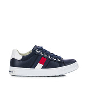Sneakers Tommy Hilfiger da ragazza in ecopelle blu con stripes in gomma
