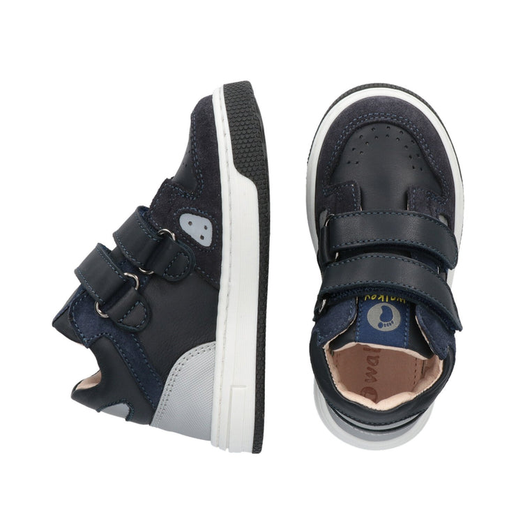 Sneakers Walkey in crosta blu con dettagli catarinfrangenti
