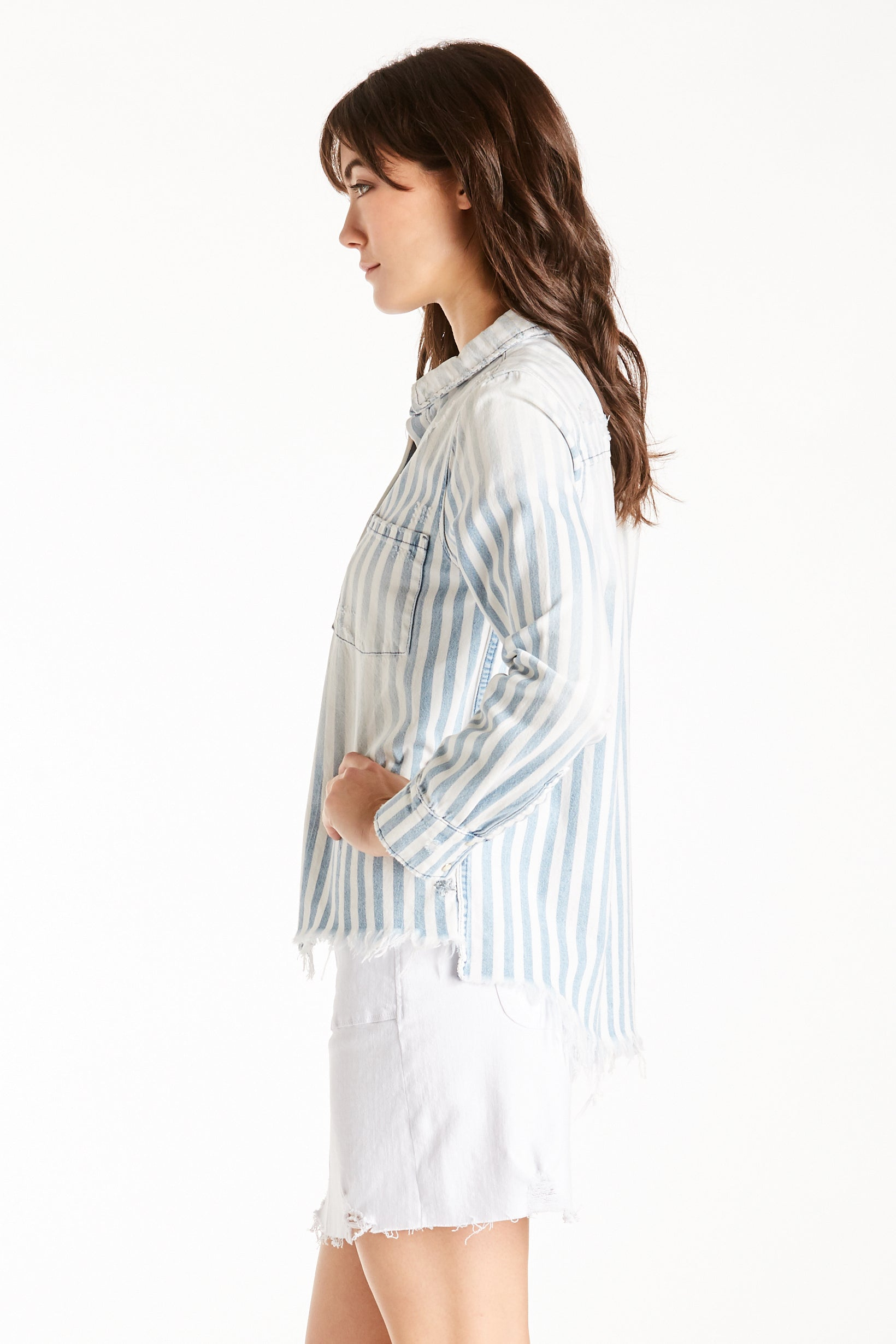 KATYA STRIPED L/S FRAYED HEM