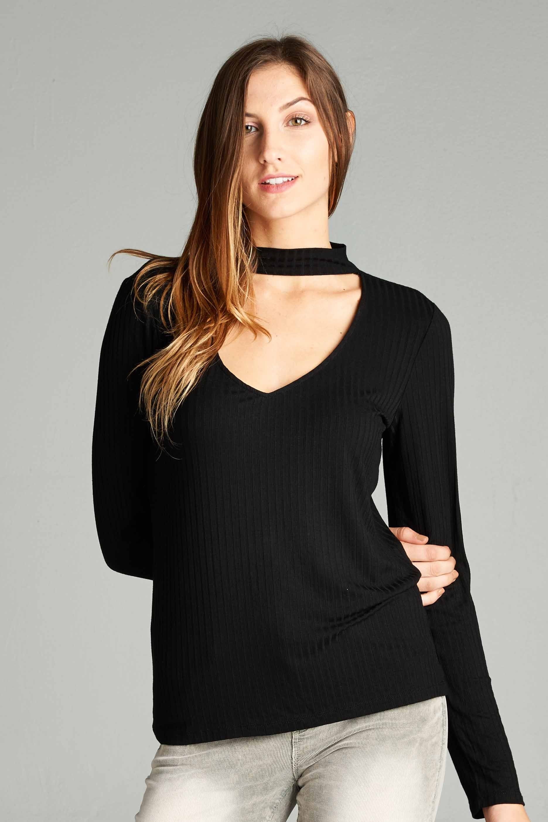 Choker Ribbed Top in Black