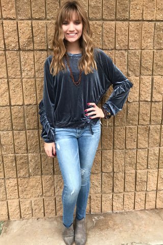 L/S VELVET TOP W/SIDE LACE DTL