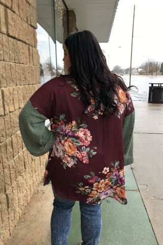 OPEN FRONT CARDI W/FLORAL BACK