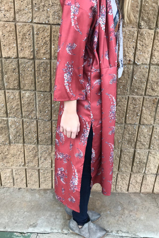 FLORAL PRINT DUSTER W/TIE WAIST