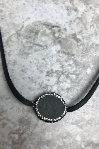 Grey and Silver Druzy Leather Choker