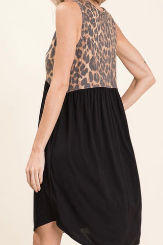 TANK MIDI DRESS WITH LEOPARD TOP AND SOLID EMPIRE WAIST BOTTOM