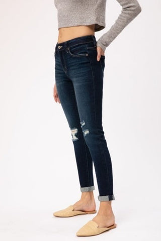 GEMMA MIDRISE ANKLE SKINNY WITH ROLL CUFF