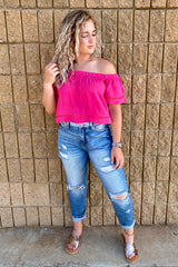 ELBOW SLEEVE OFF THE SHOULDER WOVEN CROP TOP