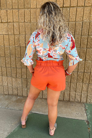 PAPER BAG SHORTS WITH TIE WAIST & POCKETS