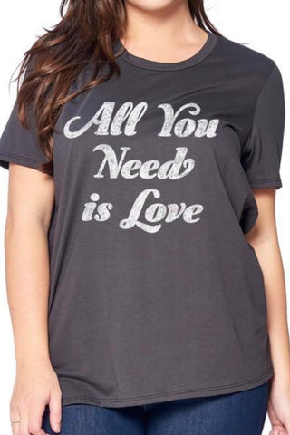 CURVY ALL YOU NEED IS LOVE GRAPHIC TEE