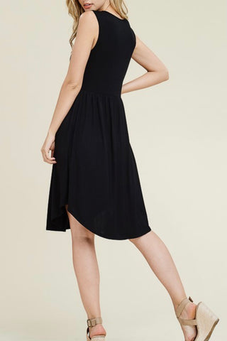 SLEEVELESS BUTTON FRONT KNIT DRESS