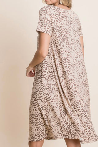 SHORT SLEEVE LEOPARD PRINT TSHIRT DRESS