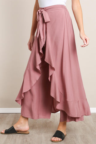 WIDE LEG PANT WITH WRAP FRONT RUFFLE TRIM
