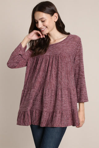 3/4 SLEEVE TIERED BABYDOLL TOP