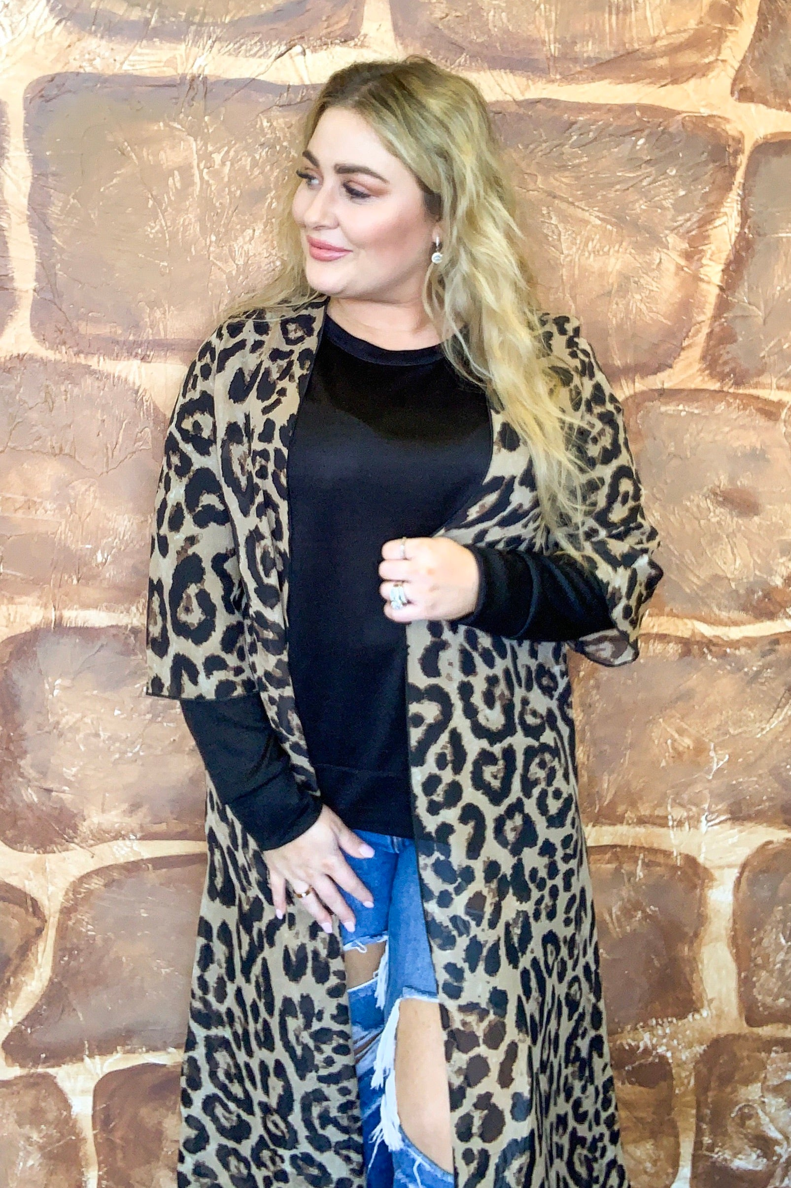 3/4 SLV SHEER LEOPARD PRNT DUST