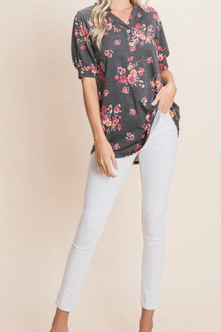 ELBOW SLEEVE FLORAL PRINT HENLEY TOP