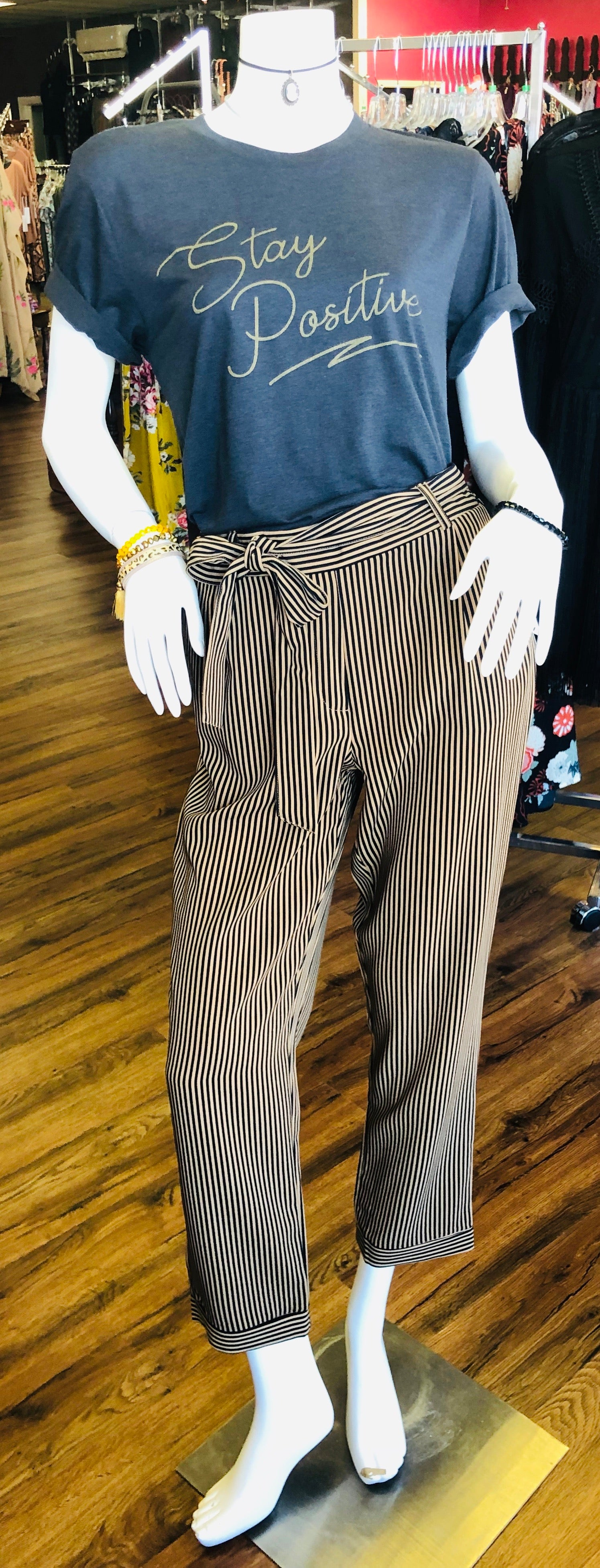 Pull On Stripe Belted Pants