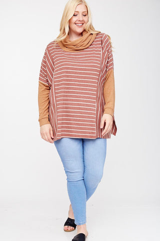 CURVY COWL NECK MULTI TEXTURE TOP