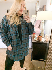 L/S PLAID JKT W/SIDE POCKETS