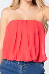 TUBE CROP TOP WITH SHIRRING FRONT