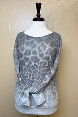 PLUS BRUSHED LEOPARD PRNT SWTR