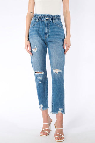 ANGEL ULTRA HIGH RISE PAPERBAG MOM JEANS