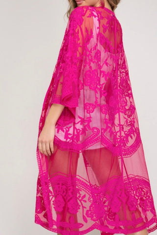 MIDI LENGTH EMBROIDERED LACE DUSTER