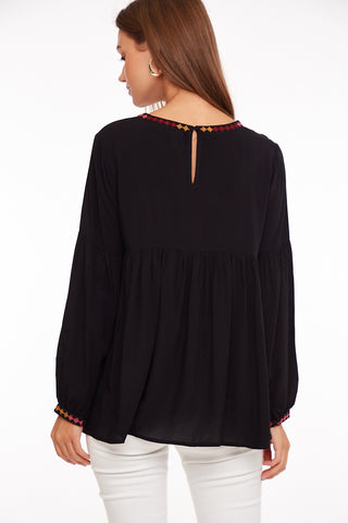 LONG SLEEVE PEASANT TOP WITH EMBROIDERY