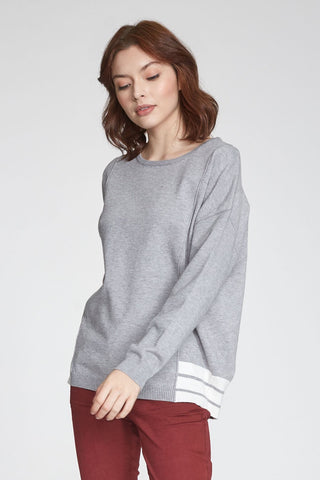 ANOTHER LOVE BLAKE SWEATER WITH STRIPE HEM DETAIL