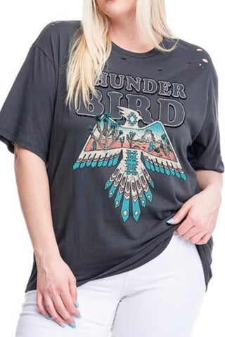 CURVY THUNDERBIRD GRAPHIC TEE