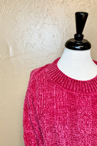 PULLOVER CHENILLE CABLE KNIT SW