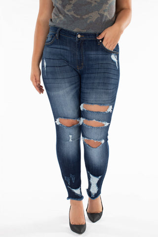 Kancan Curvy Distressed Ankle Skinny