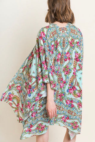 ELBOW SLEEVE FLORAL PRINT KIMONO WITH SIDE SLITS