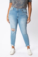 CURVY GEMMA SUPER HIGHRISE DISTRESSED SKINNY