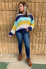LONG SLEEVE COLOR BLOCK CROCHET SWEATER