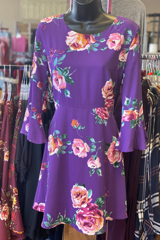 3/4 BELL SLEEVE FLORAL DRESS